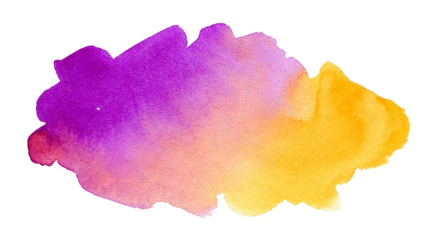 Astratto sfondo acquerello viola e giallo isolato su bianco