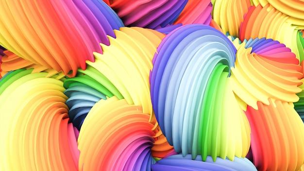 Forma pastello arcobaleno astratto. rendering 3d.