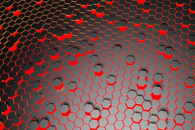 Priorità bassa rossa astratta dell'esagono di superficie futuristico.