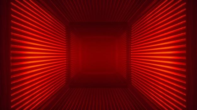 Fondo futuristico rosso astratto del tunnel al neon con il corridoio della foschia e la luce volumetrica