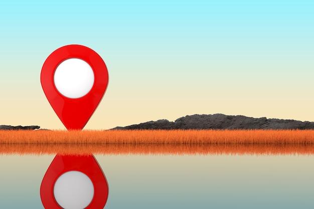 Perno rosso astratto del puntatore della mappa che sta in erba lunga di autunno su un primo piano estremo della sponda del fiume. rendering 3d