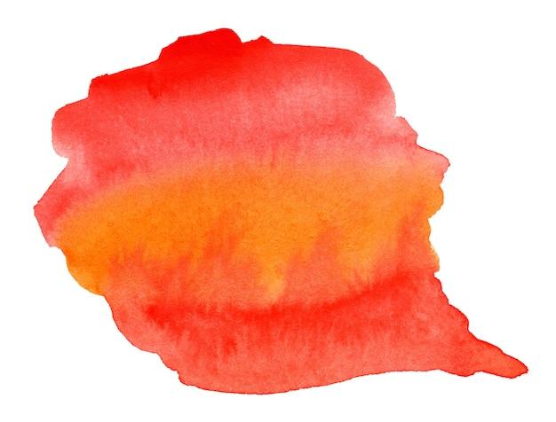 Astratto sfondo acquerello rosso arancio e giallo isolato su bianco