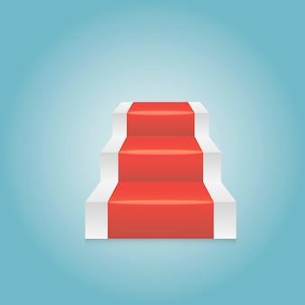 Gradini rossi astratti del podio del piedistallo. stanza vuota leggera, forma vettoriale 3d, presentazione del display del prodotto. concetto della stanza dello studio, illustrazione minima della scena della parete.