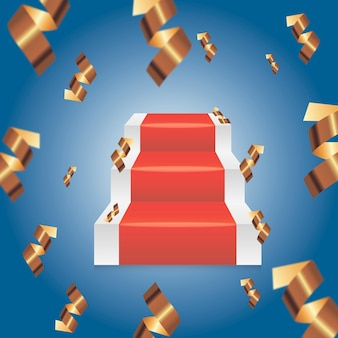 Gradini rossi astratti del podio del piedistallo. forma vettoriale 3d, presentazione del display del prodotto. concetto della stanza dello studio, illustrazione minima della scena della parete.