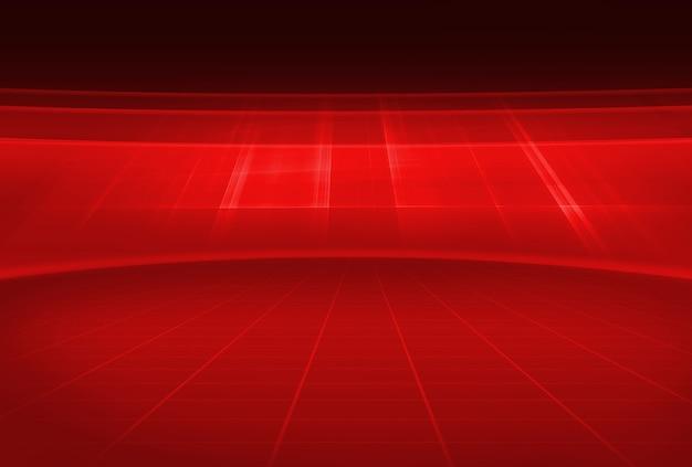 Spazio vuoto dello studio 3d di tema rosso astratto