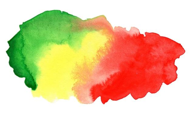 Astratto sfondo acquerello rosso giallo e verde isolato su bianco