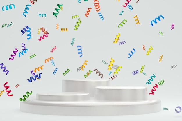 Rendering 3d di sfondo bianco scena astratta con podio bianco, coriandoli e nastri multicolori per il festival