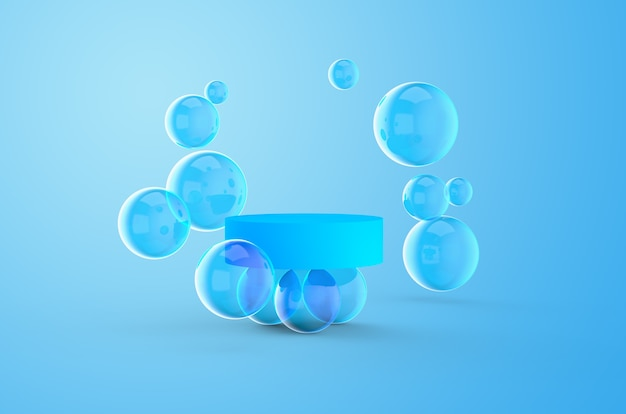 Scena astratta con podio blu e bolle su uno sfondo colorato