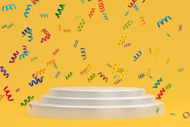 Rendering 3d di sfondo giallo scena astratta con podio bianco, coriandoli e nastri multicolori per il festival