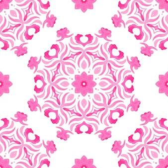 Reticolo decorativo delle mattonelle del fiore del medaglione di arabesque dell'acquerello ornamentale senza giunte astratto