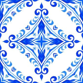 Modello senza cuciture astratto delle mattonelle della pittura di arabesco dell'acquerello ornamentale per tessuto