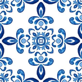 Reticolo delle mattonelle di vernice arabesco damascato acquerello ornamentale senza giunte astratto