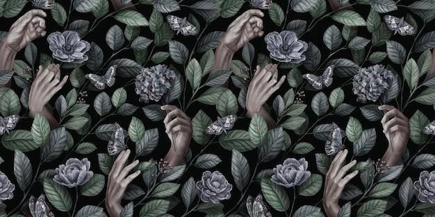 Modello vintage senza cuciture astratto con mani di donna, farfalle, foglie, fiori