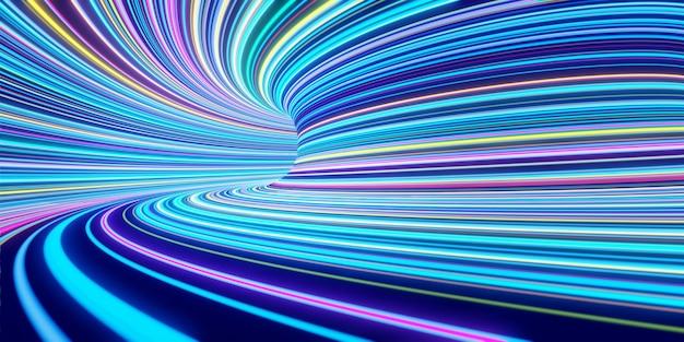Le linee colorate auto-luminose astratte si muovono velocemente nel tunnel. rendering 3d