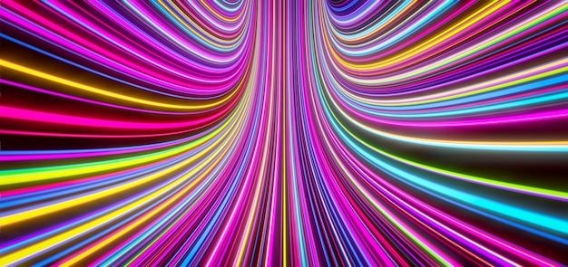Le linee colorate auto-luminose astratte si muovono verso l'alto. rendering 3d