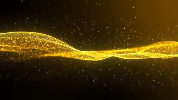Elemento di disegno astratto dell'onda dell'oro di colore lucido con effetto glitter su sfondo scuro.