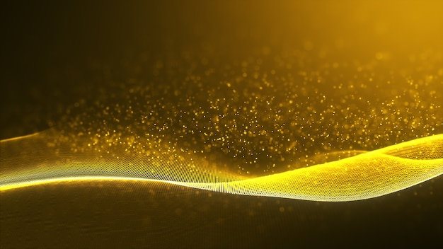 Elemento di disegno astratto onda d'oro di colore lucido con effetto glitter sul buio.