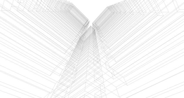 Schizzo astratto, architettonico, costruzione, wireframe