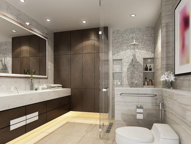 Disegno astratto di schizzo del bagno interno, rendering 3d