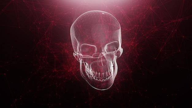 Animazione astratta del cranio con il fondo rosso del plesso