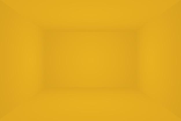 Solido astratto di fondo della stanza della parete dello studio di gradiente giallo brillante. sala 3d.