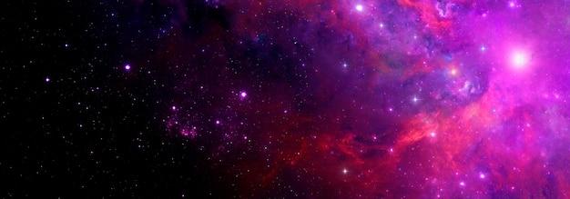 Fondo astratto dello spazio con la nebulosa e le stelle luminose