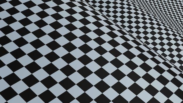 Sfondo astratto piazze, bandiera a scacchi bianco e nero, rendering 3d.