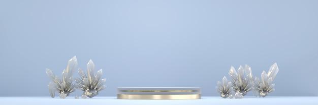 Podio piattaforma palco astratto con cristallo, per la visualizzazione di prodotti pubblicitari, rendering 3d.