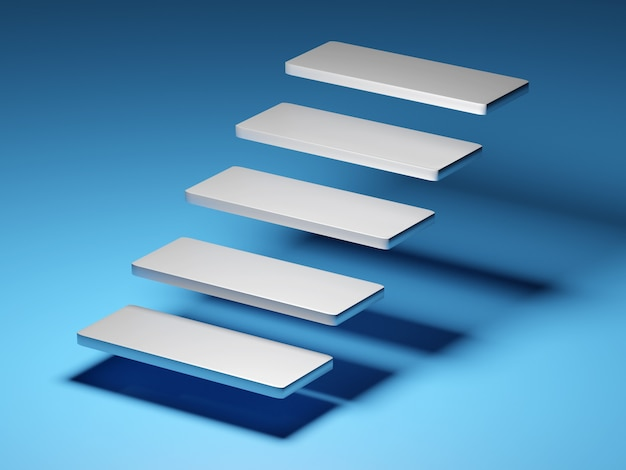 Scala astratta. scale con gradini su sfondo blu, concetto di affari