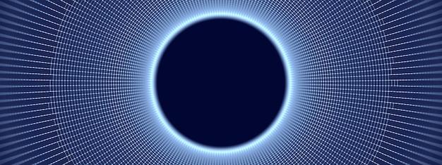 Abstract background tecnologico da una griglia a forma di cerchio, 3d'illustrazione