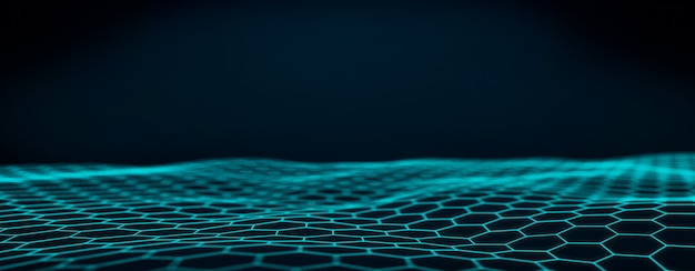 Fondo ondulato blu tecnologico astratto