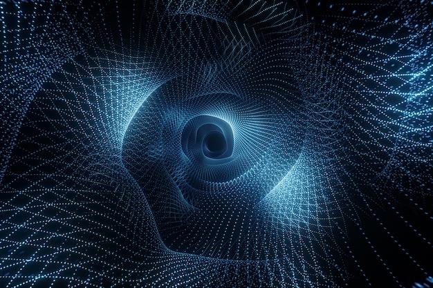 Volo tecnologico astratto nello spazio digitale