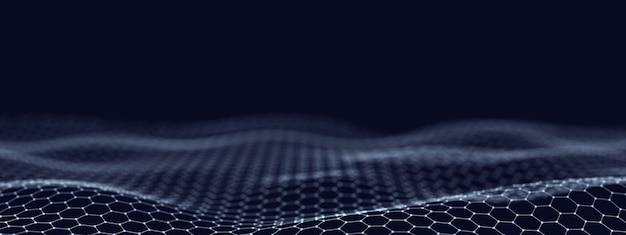 Fondo ondulato tecnologico astratto costituito da esagoni, illustrazione 3d