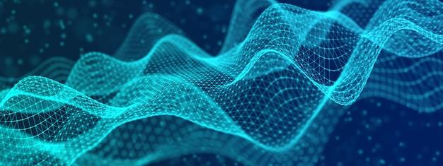 Fondo ondulato tecnologico astratto costituito da maglia triangolare, illustrazione 3d