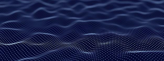Fondo ondulato tecnologico astratto costituito da punti, illustrazione 3d