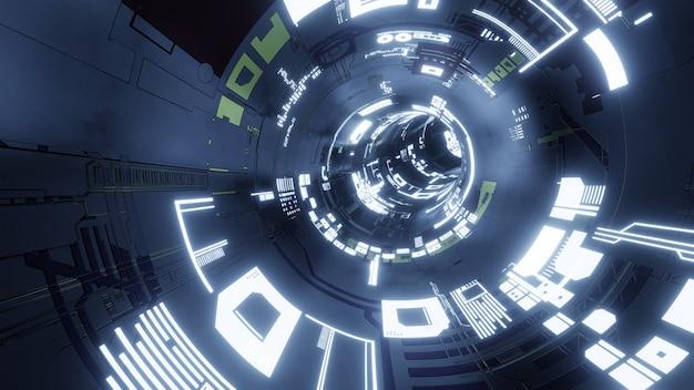Il fondo astratto di tecnologia, 3d rende la tecnologia futuristica o il tunnel di fantascienza del cyberspazio. illustrazione 3d.