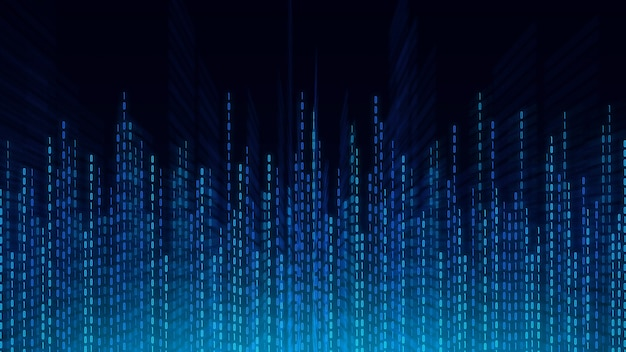 Fondo astratto di tecnologia, cyberspazio e codice binario. cyberspazio digitale e concetto di dati digitali.
