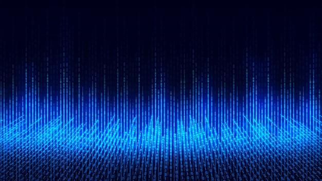 Fondo astratto di tecnologia, cyberspazio e codice binario. cyberspazio digitale e concetto di connessioni di rete dati digitali.