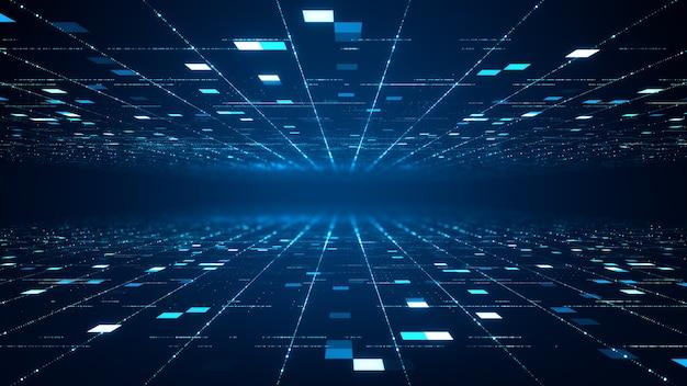 Concetto astratto di big data di tecnologia. grafica in movimento per data center astratto, flusso di dati. trasferimento di big data e archiviazione di blockchain, server, internet ad alta velocità. rendering 3d.