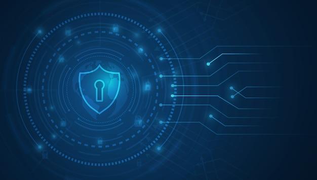 Concetto astratto di sicurezza della tecnologia scudo con l'icona del buco della serratura su sfondo digitale