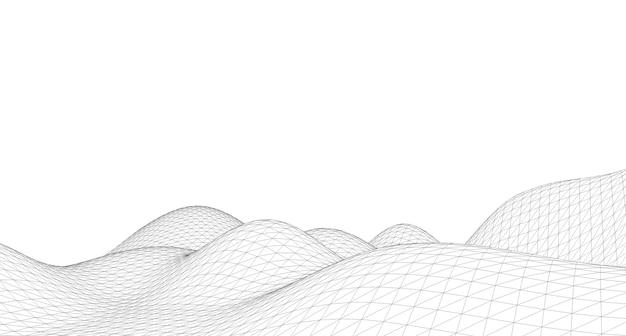 Fondo astratto del paesaggio del wireframe del terreno.