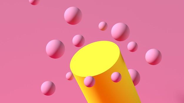 Tema astratto. sfere rosa galleggianti 3d con podio giallo su sfondo rosa. un palcoscenico per pubblicizzare il tuo prodotto