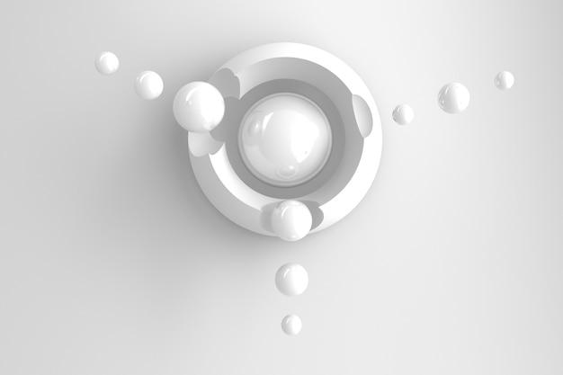 Fondo tridimensionale astratto di molti cerchi con ritagli rotondi con un'esposizione stilizzata del pianeta