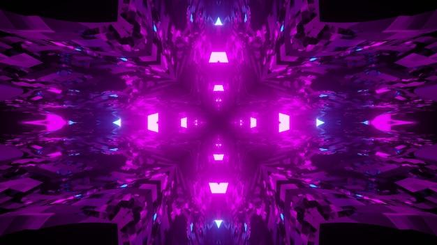 Illustrazione tridimensionale astratta delle linee trasparenti ondulate sopra le luci viola e blu luminose che formano la croce su fondo nero