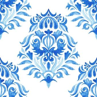 Modello senza cuciture disegnato a mano dell'acquerello del damasco di arabesco astratto delle mattonelle per tessuto e design in ceramica elemento decorativo azulejo blu e bianco.