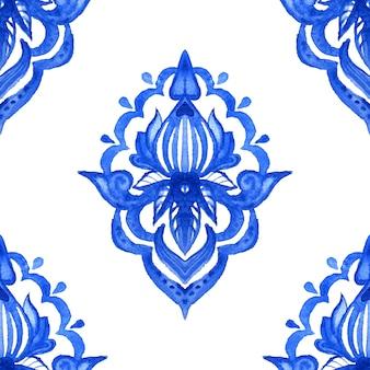 Modello senza cuciture disegnato a mano dell'acquerello del damasco di arabesco astratto delle mattonelle per tessuto e design in ceramica. Foto Premium