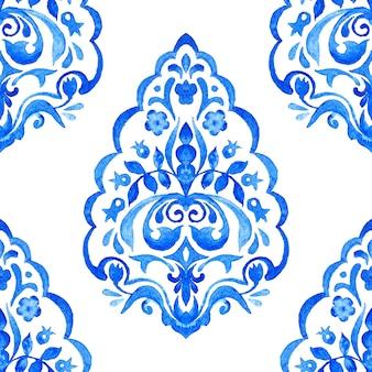 Modello senza cuciture disegnato a mano dell'acquerello del damasco di arabesco astratto delle mattonelle per tessuto e design in ceramica.