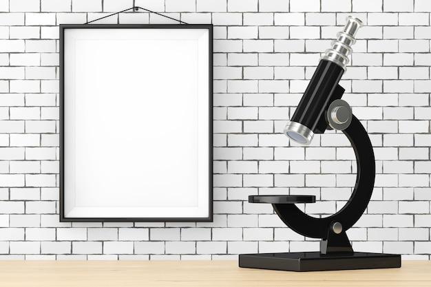 Abstract vintage microscopio nella parte anteriore del muro di mattoni con cornice vuota extreme closeup 3d rendering
