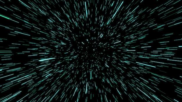 Estratto del filo di ordito o del movimento dell'iperspazio nella traccia della stella blu. movimento che esplode e si espande. illustrazione