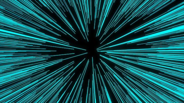 Estratto del filo di ordito o del movimento dell'iperspazio nella traccia della stella blu. movimento che esplode e si espande